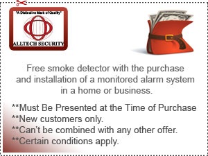 Free smoke dectector with the purchase and installation of a monitored alarm system in a home or business.